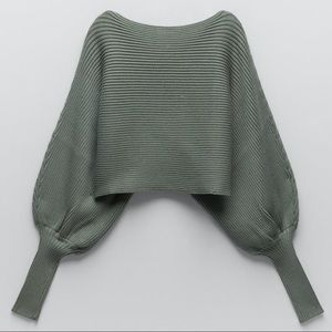 ZARA Knit Cropped Sweater Loose-fit Balloon Sleeve